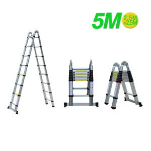 5M Foldable Ladder Aluminum Telescopic Folding Stepladder Multifunction Tool DE