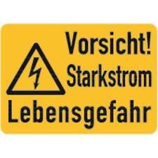 Aufkleber Vorsicht! Starkstrom Lebensgefahr 105x74mm selbstklebend