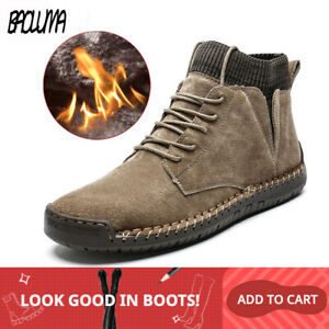 Snow Boots Winter Plush Warm Men Motorcycle Boots Lace-Up Non-slip Male Ankle