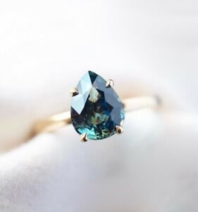Montana Sapphire Solitaire Ring 14K Gold Teal Blue,Solitaire Engagement Ring