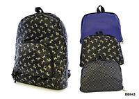 Ladies / Girls Folding Rucksack Travel Bag - Spotty, Plain Blue, Dog Print