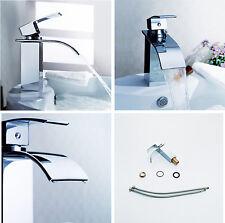 Waterfall Basin Faucet Chrome Bathroom Sink Mixer Tap Single Handle Hole Brass
