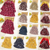 Toddler Baby Kids Girls Ruched Bow Dress Winter Floral Print Dress Party Clothes