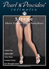 Gloss Shine Pantyhose with Self Sheer Gusset Wet look Oil Shine Sheer Toe Sandal