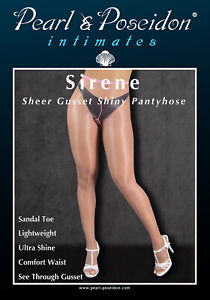 Gloss Shine Pantyhose with Self Sheer Gusset Wet look Oil Shine Sheer Toe Sandal