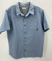Columbia OmniWick Button Up Shirt Adult Large Light Blue Outdoors Fishing Mens