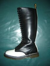 Dr.MARTENS Black&White Leather 20-eye Tall Knee-High Boots US 9/9.5, EU40