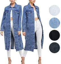 Women's Long Casual Maxi Length Denim Cotton Coat Oversize Button Up Jean Jacket