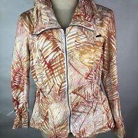 Chicos Womens Jacket Size 3 XL Orange White Safari Anorak Coat Blazer Zipper