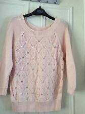 M&S Indigo peach 100% cotton jumper 3/4 sleeves beads in jumper pattern 10