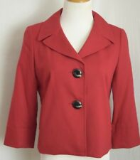Talbot's Petite Sz 6 Red Italian Made Wool Blend Stretch Blazer 2 Large Buttons