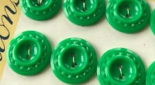"Vintage Buttons -  12 Bright Green Carved 2-hole 3/4"" Casein Buttons - USA"