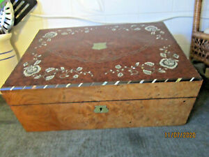Antique Victorian 1800's Lap Desk/Writing Box With Mother of Pearl & brass Inlay