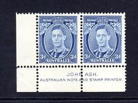 1938 ***MUH*** KGVI 3d BLUE DIE 2 C/nr BLOCK of 2 with JOHN ASH IMPRINT(SG 168c)