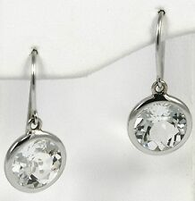 Clear Crystal Drop Earrings 14k White Gold with 10mm round stones