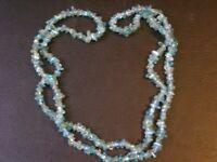 "Aqua Quartz Gemstone Necklace   34"" Long Birthday Gift Reiki Healing"