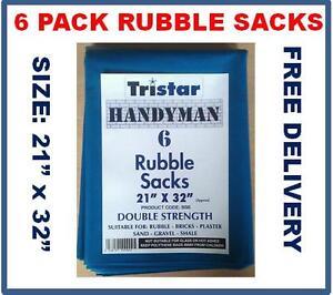 "6 Pack Blue Rubble Sacks, 400g 21 x 32"" Heavy Duty Bags Sacks Strong Bags 400g"