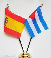 Spain & Cuba Double Friendship Table Flag Set