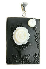 Sterling Silver Stone Flower Carved in White Mother of Pearl and Black Calcite