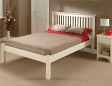 BARCELONA STONE WHITE WOODEN BED IN SINGLE DOUBLE KINGSIZE LOW OR HIGH FOOT END