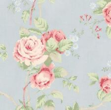 Wallpaper By the Yard - Shabby Chic Pink Cottage Rose Floral on Pale Blue Countr