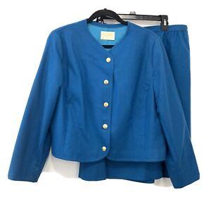 Vintage PENDLETON 18 Aqua Blue Wool Skirt Suit Set Blazer Jacket Skirt Lined