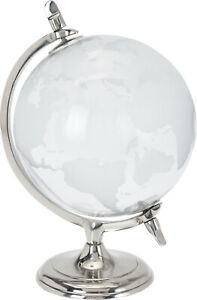 Glass World Globe - Clear & Frosted Map Decoration Ornament Metal Base Office