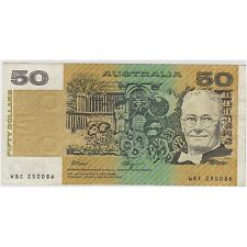 $50 Paper Banknote Australia Fraser Higgins WBC250086 Clean