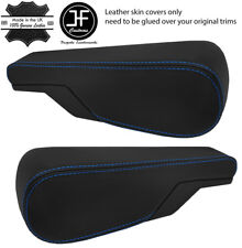 BLUE STITCH 2X SEAT ARMREST REAL LEATHER COVERS FITS VW TYPE 3 T3 MULTIVAN