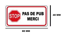 2x Autocollant Sticker STOP PAS DE PUB MERCI boite aux lettres