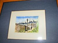 SMALL VINTAGE 1988 WATERCOLOUR PAINTING SIGNED JMP NORTHERN STREET SCENE