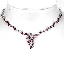 Sterling Silver 925 Natural Raspberry Pink Rhodolite Garnet Necklace 191/2 Inch