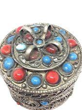 Antique Tibet Handmade Filigree Tibetan silver Gaudencio Jewellery Box
