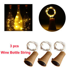 3Pcs Led Solar Powered Wine Bottle Cork String Night Fairy Light Lamp Warm White