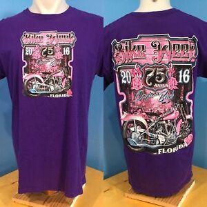2016 Daytona Beach Bike Week T Shirt Size L Florida Purple Pink 75th Annual