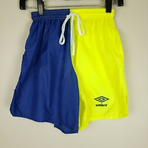 Umbro Adult Small Vintage 90s Color Block Combo Shorts Blue & Neon Green/Yellow