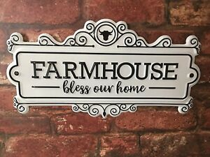 Farmhouse Bless Our Home Decorative Plaque Hanging Tin Sign