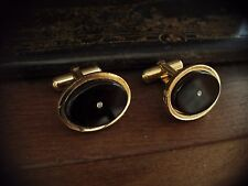 Vintage Oval Gold Jet Black & Crystal Cuff links, Great Quality