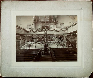 Vintage Sepia Photograph of Church Interior with Pipe Organ on Textured Card