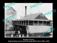 LARGE OLD HISTORICAL PHOTO OF BENDIGO VICTORIA, VIEW OF GRIMSBYs FLOUR MILL 1890