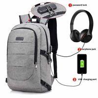 "USA 20"" Laptop Canvas Backpack Anti Theft USB Mens Business School Shoulder Bag"