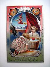 "1911 ""Halloween"" Postcard w/ Two Children Playing Bobbing Apples *"