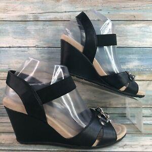 St Johns Bay Leanne Flex Form Womens Black Wedge Sandal Elastic Strap Size 7.5M