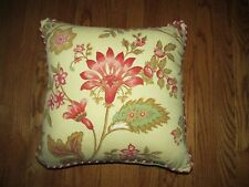 """Waverly Pale Yellow Romantic Floral Stripe 17"""" Square Throw Pillow"""