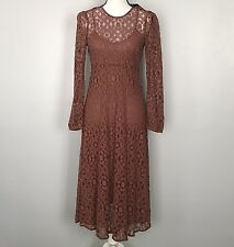 NWT Zara Mink Brown Long Sleeve Boho Lace Dress Size Small MSRP $69.90