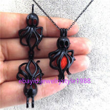"""H185 Black Alloy Bead Cage 37mm Long Ocean Octopus Locket Stainless Necklace 18"""""""