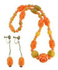 ANTIQUE DECO CARVED CORAL CELLULOID BEAD NECKLACE AND DANGLE SCREW BACK EARRINGS