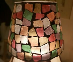 Yankee Candle Shade w/ Multicolor Mosaic Tiles.  Colorful Pre Owned