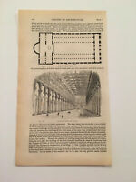 K66) Interior of Basilica of St. Paul Rome Architecture History 1842 Engraving