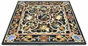 Black Marble Dining Table Top Pietra Dura Collectible Inlay Art Interior Decor